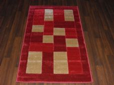 Modern New Rug Approx 5x2ft6 80x150cm Woven Backed Thick best around ,Blocks Red